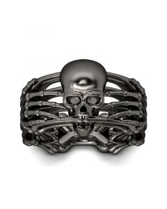 Black Skeleton Sterling Silver Skull Ring