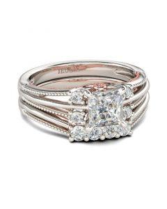 Two Tone Split Shank Princess Cut Sterling Silver Ring Set