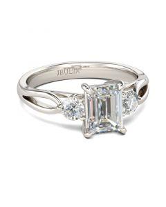 Three Stone Split Shank Emerald Cut Sterling Silver Ring