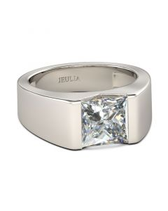 Jeulia  Bold Princess Cut Sterling Silver Ring