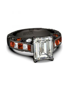 Jeulia Black Tone Emerald Cut Sterling Silver Ring