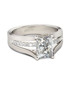 Jeulia  Contemporary Design Radiant Cut Sterling Silver Ring