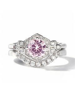 Flower Design Round Cut Synthetic Morganite Sterling Silver Ring