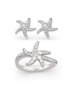 Jeulia Starfish Sterling Silver Jewelry Set