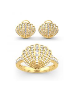 Jeulia Sea Shell Sterling Silver Jewelry Set