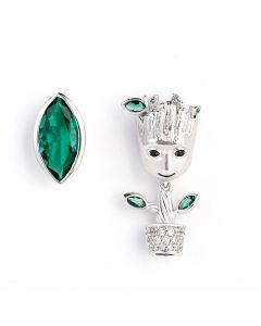 """Jeulia """"I am Groot"""" Tree Man Asymmetric Sterling Silver Earrings"""