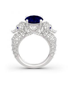 Jeulia Sea Horse Round Cut Sterling Silver Ring