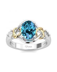 Jeulia Heart Design Oval Cut Sterling Silver Ring