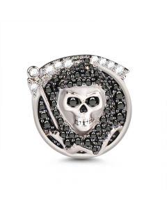 Grim Reaper Death Skull Sterling Silver Charm
