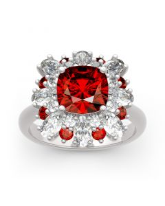 Jeulia Floral Cushion Cut Sterling Silver Ring