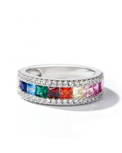 Jeulia Multi-Color Princess Cut Sterling Silver Band