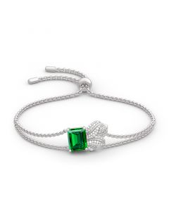Leaf Design Emerald Cut Sterling Silver Bracelet