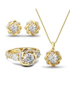 Jeulia Knot of Love Sterling Silver Jewelry Set