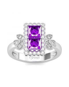 Leaf Design Princess Cut Sterling Silver Ring