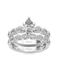 Jeulia Classic Marquise Cut Sterling Silver Ring Set