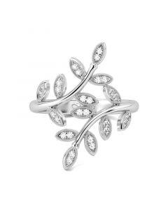 Jeulia Leaf Design Sterling Silver Cocktail Ring