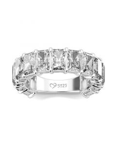 Classic Radiant Cut Sterling Silver Women's Band