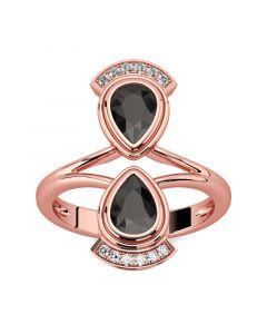 Jeulia Unique Pear Cut Sterling Silver Cocktail Ring
