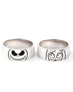 Jeulia Cute Jack Skellington and Sally Sterling Silver Couple's Band Set