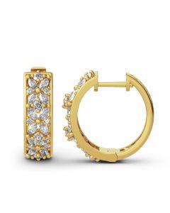 Jeulia Flower Design Sterling Silver Hoop Earrings