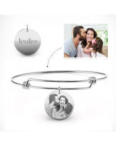 Jeulia Personalized Laser Engraved Photo Bangle