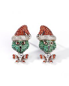 "Jeulia ""Holiday Cheermeister"" Christmas Monster Inspired Sterling Silver Earrings"