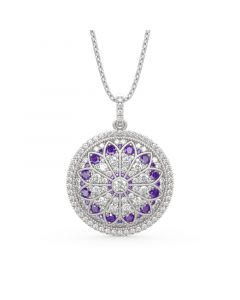 """Jeulia """"Divine Rose Window"""" Inspired Sterling Silver Necklace"""