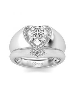 Jeulia Heart Shape Halo Round Cut Sterling Silver Ring Set