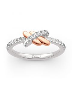 """Jeulia """"Love Knot"""" Two Tone Sterling Silver Ring"""
