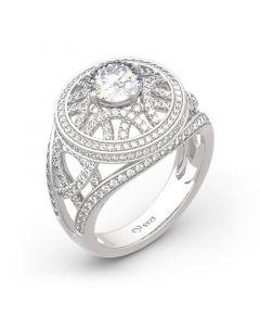 Jeulia Palais Garnier Inspired Round Cut Sterling Silver Ring