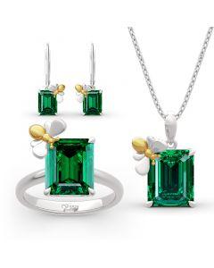 "Jeulia ""Honey Bee"" Emerald Cut Sterling Silver Jewelry Set"