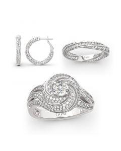 Jeulia Twist Design Sterling Silver Jewelry Set