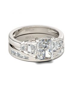 Contemporary Design Radiant Cut Sterling Silver Ring Set
