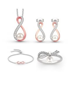 Infinity Cultured Pearl Sterling Silver Jewelry Set