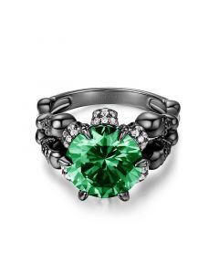 Four Skull Green Round Cut  Sterling Silver Skull Ring
