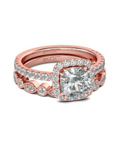 Rose Gold Tone Halo Cushion Cut Sterling Silver Ring Set