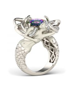 Delicate Cushion Cut Sterling Silver Mermaid Ring