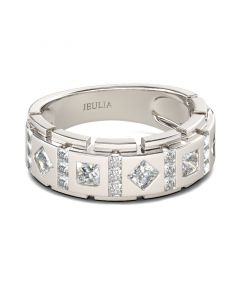Princess Cut Sterling Silver Men's Band