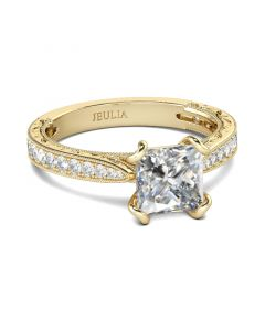 Gold Tone Milgrain Princess Cut Sterling Silver Ring