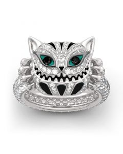 """""""Grinning Like a Cheshire Cat"""" Sterling Silver Enamel Ring"""