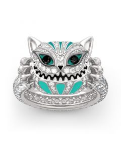 "Jeulia ""Grinning Like a Cheshire Cat"" Sterling Silver Enamel Ring"