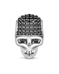 Skull Charm With Black Stone Sterling Silver