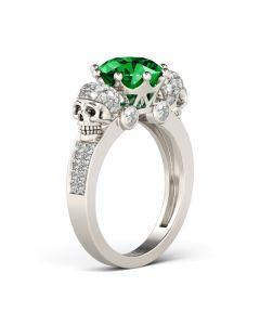 Jeulia  Two Skull Design Sterling Silver Skull Ring