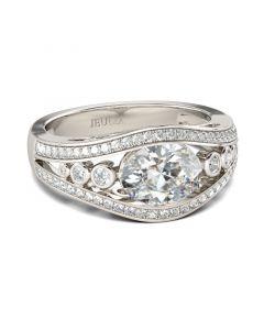 Jeulia  Split Shank Oval Cut Sterling Silver Ring