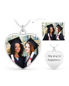 Heart Engraved Personalized Sterling Silver Photo Necklace