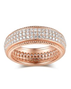 Rose Gold Tone Pave Sterling Silver Women's Band