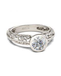 Jeulia  Leaf Design Round Cut Sterling Silver Ring