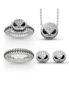 """Pumpkin King"" ""Jack Skull"" Sterling Silver Jewelry Set"
