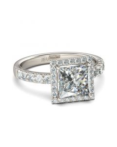 Classic Halo Princess Cut Sterling Silver Ring