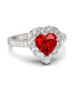 Halo Heart Cut Sterling Silver Ring
